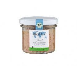 MHD-Ware Biopur Rind, Reis & Karotten im Glas für Hunde